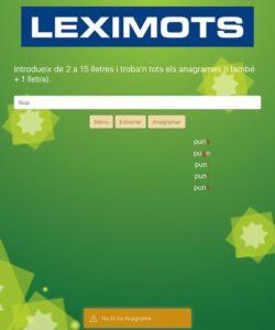 mostra en anagramador de web Leximots diccionari scrabble català