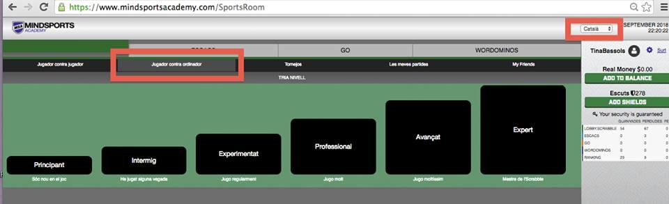 jugar, Mindsports Academy, scrabble en català, en línia, online, scrabble, català, llengua, sportroom