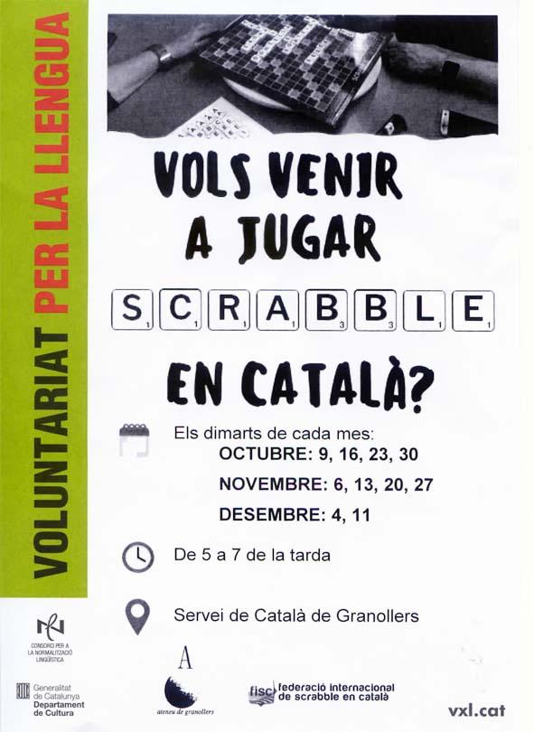 scrabble, scrabble en català, trobades, joc, CNL, Servei de Català, Granollers, quart trimestre, 2018, desembre, octubre, novembre