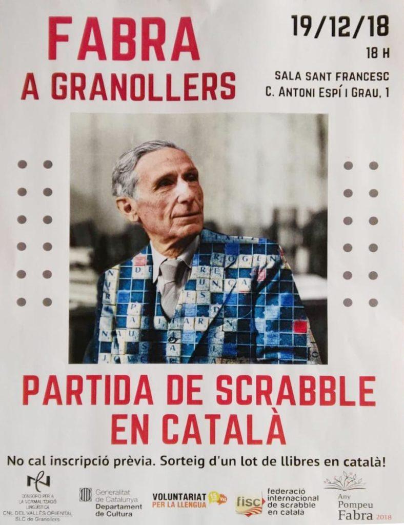 Fabra, Pompeu Fabra, Any Fabra, Granollers, CNL, CPNL, Vallès, Servei de Català, 2018, scrabble, català, mattel, FISC, Federació Internacional de Scrabble en Català