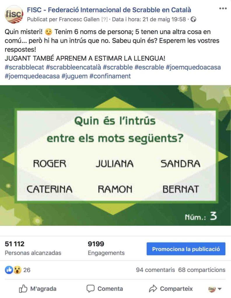 joc xarxes socials COVID19 scrabble català