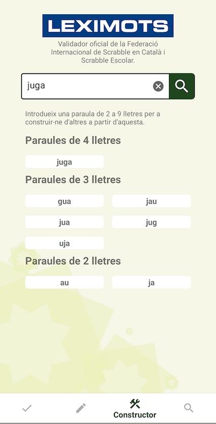 mostra en el constructor de app Leximots