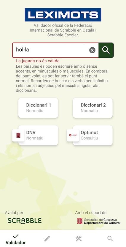 error en el validador de app Leximots