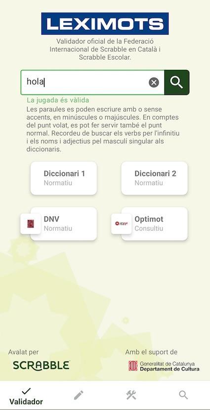 vàlid en el validador de app Leximots
